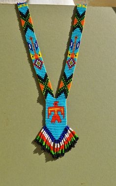 Vintage Native American Bead Necklace with Fringe, Bright Colors.