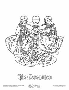 The Coronation - Free Hand-Drawn Catholic Coloring Picture