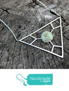 California Blue Green Jasper set in Sterling Silver Large Geometric Statement Necklace from Silver and Slag http://www.amazon.com/dp/B01BE91EFK/ref=hnd_sw_r_pi_dp_lfnTwb1ZTY9Y0 #handmadeatamazon