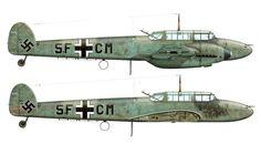 Messerschmitt Bf 110C Zerstorer 4.(F)14 (5F+CM) Friedrich Karl Runde WNr 2177,artwork:Fernando Estanislau.