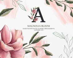 Excited to share the latest addition to my shop: Magnolia PNG clipart. Spring bloom clipart, spring clipart, floral summer png, pink delicate flower and leaves, bloom alphabet Magnolia, Outline Illustration, Illustration Flower, Watercolor Illustration, Summer Wedding Bouquets, Painted Leaves, Hand Painted, Spring Blooms, Floral Illustrations