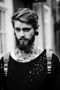 photography Black and White photo hipster vintage plugs backpack boy men urban amazing guy Alternative body modification beard nose piercing newedit alternative boy magzine beard tattoo boy white