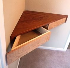 Floating Corner Shelf With Drawers - Reader's Gallery - Fine Woodworking *** The beginnings of a built-in corner desk. Floating Corner Shelf With Drawers - Reader's Gallery - Fine Woodworking *** The beginnings of a built-in corner desk. Fine Woodworking, Woodworking Projects, Woodworking Classes, Woodworking Workbench, Woodworking Furniture, Custom Woodworking, Woodworking Magazine, Woodworking Quotes, Intarsia Woodworking
