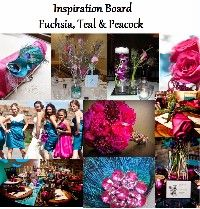 Inspiration Board - Fuchsia, Teal and Peacock - KRYSTAL's Blue Wedding by Color Blog