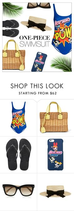 """""""Yep, They're In! The One-Piece"""" by danielle-487 ❤ liked on Polyvore featuring Moschino, Mark Cross, Valentino, Eugenia Kim and onepieceswimsuit"""
