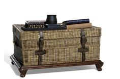 Ralph Lauren Marseilles Trunk on Stand Rustic Chic, Rustic Wood, Rattan Furniture, Home Furniture, Color Scale, Blanket Chest, Grey Wood, Interior Design Services, Restoration Hardware