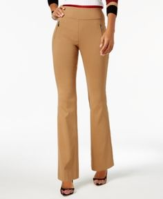 INC Zip-Pocket Wide-Leg Pants, Created for Macy's - Brown 16