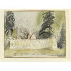 ✽ john piper - 'the temple of british worthies, stowe, gloucestershire' - watercolour - 1940 - recording britain v&a