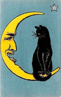 Vintage Halloween paper moon and black cat Posters Vintage, Retro Poster, Vintage Art Prints, Vintage Artwork, Vintage Paper, Framed Artwork, Crazy Cat Lady, Crazy Cats, Illustration Inspiration