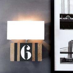 Applique en bois L34 avec chiffre personnalisable