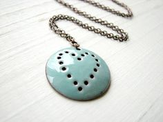 Turquoise Heart Necklace Enamel On Copper by happyment on Etsy, $26.00
