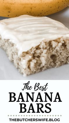 The BEST Banana Bars you will ever eat! Sweet, moist and full of delicious banana flavor with a smooth cream cheese frosting Banana Recipes Easy, Banana Dessert Recipes, Cinnamon Recipes, Honey Recipes, Yummy Recipes, Cake Recipes, Banana Bread Bars, Carrot Cake Bars, Best Banana Bread