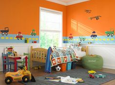 Bright Turn -   Crayola Yellow Orange DK86 -     Supercharge his room with orange, blue and yellow. It's a revved up look that he'll get a lot of mileage out of.