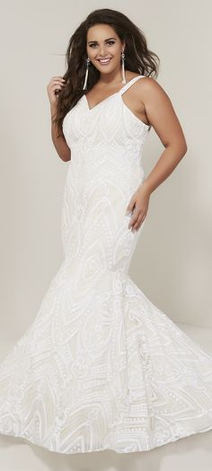 Style 16376 from Tiffany Designs is a plus size mermaid prom gown in metallic embroidery lace with a sweetheart neckline with beaded straps, lace-up back, and sweep train. Mermaid Gown Prom, Mermaid Skirt, Lace Mermaid, Mermaid Dresses, Plus Size Prom Dresses, Prom Dresses Online, Pageant Dresses, Formal Dresses, Prom Dress Stores