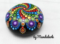 Jewel drop whirlpool Hand Painted Mandala Stone Big by Mandalaole