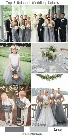 Top 8 October Wedding Colors to Steal - Fall wedding color palettes - Grey Wedding Theme, Gray Wedding Colors, Autumn Wedding Colours, Fall Color Wedding, Burgundy And Grey Wedding, Slate Wedding, Silver Winter Wedding, Wedding Flowers, Bridesmaid Dresses Long Champagne