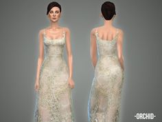 The Sims Resource: Orchid - gown by April • Sims 4 Downloads