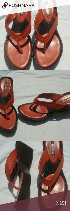 """Nine West Sandals Orange Leather Size 8.5 Good clean condition. Leather/Textile upper, man-made balance. Approx 3"""" wedge heel. Weighty pair. Great find! Nine West Shoes Sandals"""