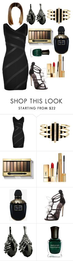 """Untitled #2690"" by jojoenes ❤ liked on Polyvore featuring Jitrois, Noir Jewelry, Max Factor, Yves Saint Laurent, Alexander McQueen, Giuseppe Zanotti and Deborah Lippmann"