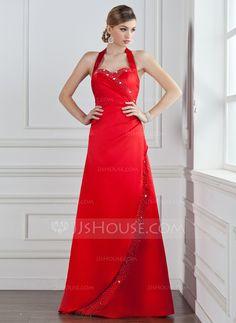 A-Line/Princess Halter Floor-Length Satin Bridesmaid Dress With Ruffle Beading (007001035) - JJsHouse