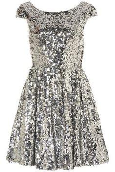 Silver glitter dress.