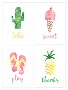 Free Summer Watercolor Printables