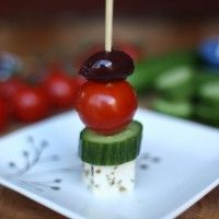 simple appetizer - feta, cucumber, tomato, olives. a little hard to make the feta stick without crumbling, but makes a healthy, fresh appetizer