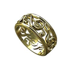 14K Yellow Gold Treble Clef Music Note Ring
