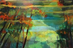 jacinda bayne - Abstract Landscape Painting, Landscape Paintings, Flame Tree, Perth Western Australia, Sense Of Place, Tree Oil, Abstract Styles, Australian Artists, Oil On Canvas