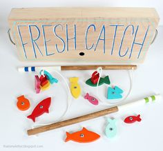 Make this wood toy fishing game from scrap wood!  Ana White | Build a Wood Toy Fishing Game | Free and Easy DIY Project and Furniture Plans