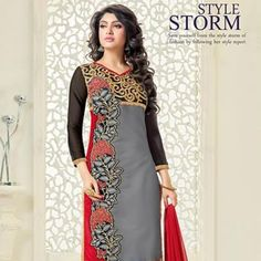 Grey Red Chanderi Cotton Salwar Kameez