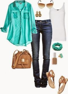 Very Comfort And Beautiful Turquoise Shirt, Turquoise Bracelet And Ring, White, Simple Singlet, Jeans, Interesting, Brown Hand Bag, Brown, Tiger Sandal, Brown, Nice Sunglasses And Earrings, Brown Nail Polish. | Street Fashion