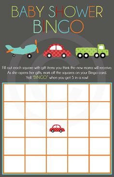 Baby Shower Bingo- Transportation Design- Digital File