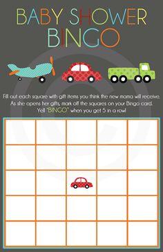 Baby Shower Bingo- Transportation Design- Digital File