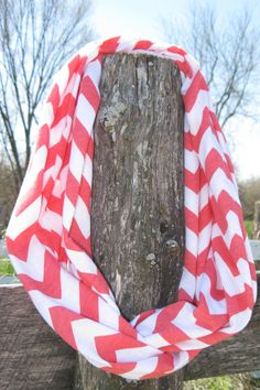 Coral Chevron Jersey Infinity Scarf by SYGBoutique on Etsy, $17.00