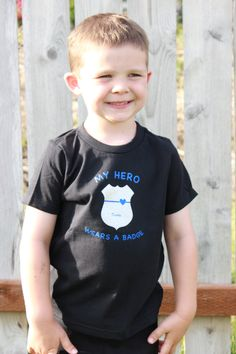 Police officer kids t-shirt My Hero Wears A Badge by BluelineSwag