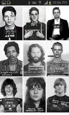 Frank sinatra, elvis presley, johny cash, jimi hendrix,  jim morrison, david bowie, mick jagger, janis joplin and kurt cobain