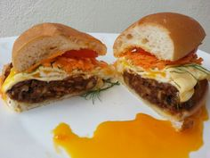 CHESTNUT BURGER AND EGG WITH CHEDDAR CHEESE TOP CARROT AND TOMATO WITH DILL