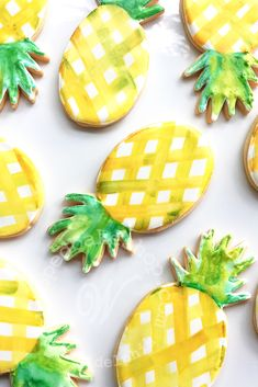Whipped Bakeshop's custom pineapple summer themed cookies Inquire today for cookie favors! We ship cookies across the United States Cut Out Cookies, Cute Cookies, Pineapple Cookies, Paint Cookies, Watercolor Cake, Summer Cookies, Cookie Favors, Royal Icing Cookies, Cookie Designs
