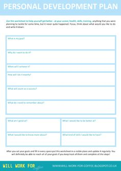 Free Personal Development Plan worksheet from www.will-work-for-coffee.blogspot.co.uk Will Work For Coffee Free Worksheet