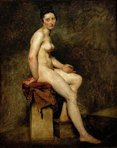 Seated Nude, Mademoiselle Rose: 1820  by Eugène Delacroix  (Musee du Louvre, Paris, France) - Romanticism