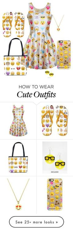 """""""Emoji Outfit 2"""" by beyzaalp on Polyvore featuring Casetify, Kate Spade and Tatty Devine"""