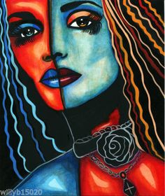 uniquely Me woman face original abstract painting art fantasy sci fi colorful
