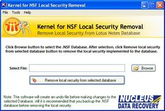 Kernel for NSF Local Security Removal is one such technically advanced email recovery software that has got an excellent ability of removing local securities of NSF database files. The software is fast and at the same time very easy to operate.