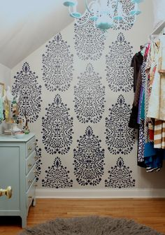 DIY Closet Makeover - Persian Garden Damask Wall Stencil by Royal Design Studio - styled by Simple Stylings