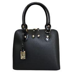Designer Italian Leather Tote Grab Bag black