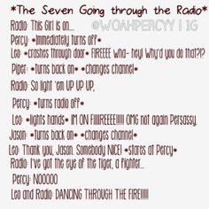 The seven listening the radio  #HOO #PercyJackson