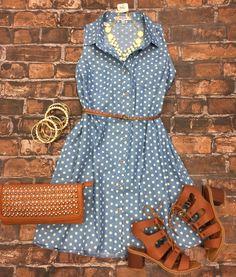 Polka Dot Chambray Sleeveless Dress from privityboutique