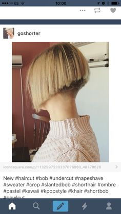 Lovely angled Bob with clippered nape Short Wedge Hairstyles, Short Pixie Haircuts, Cool Haircuts, Short Hair Cuts, Short Hair Styles, Angled Bobs, Shaved Nape, Beautiful Haircuts, Hair Inspiration