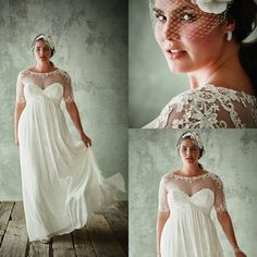 Wholesale modest wedding dresses, pakistani bridal dresses and pakistani wedding dresses on DHgate.com are fashion and cheap. The well-made 2017 plus size wedding dresses with half sleeves sheer jewel neck a line lace appliqued bridal gowns chiffon empire waist wedding dresses sold by ekishow is waiting for your attention.